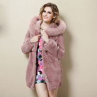 Lithium fur collar hooded rex rabbit hair fur female fur coat medium-long rabbit hair overcoat