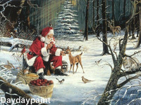 FREE SHIPPING Museum Quality 100% Handpainted Christmas Oil Painting Santa Claus and Deers Best Christmas Gifts 2013