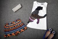 Wholesale&Retail Free Shipping 2013 summer women's fashion of leopard print sleeveless top mixed stripe shorts set