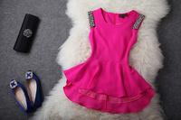 Wholesale&Retail Free Shipping 2013 spring and summer fashion handmade beaded slim silk blending chiffon shirt
