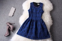 Wholesale&Retail Free Shipping 2013 women's spring fashion vintage elegant quality embroidery one-piece dress tank dress