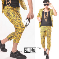 Fashion men's clothing classic yellow leopard print ankle length trousers casual pants men's clothing costume