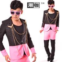 Fashion men's clothing neon powder patchwork color block suit set men's clothing costume