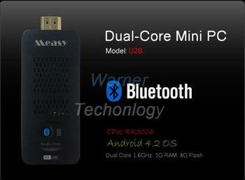 Free Shipping Dual Core Measy U2B Bluetooth TV Stick Mini PC Build in Wifi Original