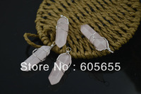 Wire Wrapped Natural Rose Quartz Point Pillar Stone Pendants