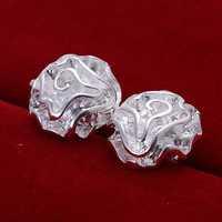 Free Shipping Wholesale 925 Silver Earring Fashion Sterling Silver Jewelry Cute Rose Earrings SMTE003