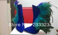 2013 winter fashion Brand Pointed Plumage Mashup High-Heeled Boots