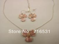 New arrive pilgrim Petal Necklace + Earrings pink color free ship