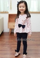Children clothing 2013 spring and autumn new girls baby casual two-piece fashion sets kids T-shirt and pants suits free shipping