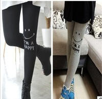 Autumn cotton letter 100% smiley ankle length legging skinny pants fitting thin female