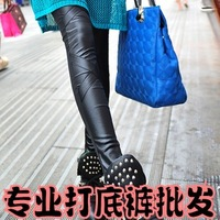 2013 summer faux leather patchwork legging female thin faux leather pants boot cut jeans ankle length trousers