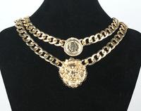 Hot Sale Fashion queen head portrait lion head portrait chain coarse necklace vintage chain