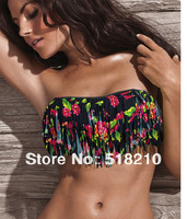 2013 New Summer VS Style Bandeau Fringe Tassel Flower Bikinis Push Up Swimwear Bathing Suit Top and bottom Dress For Women