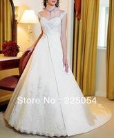 Floor-length Appliques Cap Sleeve Sweetheart Neckline  Bridal Wedding Dresses