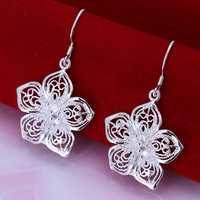 Free Shipping Wholesale 925 Silver Earring Fashion Sterling Silver Jewelry Fashion Flower Earrings SMTE035