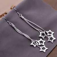 Free Shipping Wholesale 925 Silver Earring Fashion Sterling Silver Jewelry Triple Hollow Star Earrings SMTE161