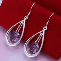 Free Shipping Wholesale 925 Silver Earring Fashion Sterling Silver Jewelry Crystal Water Drop Earrings SMTE183