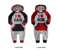 "free shipping!(3 pieces/lot) baby pure cotton jump suit ""I love Dad """"I Love MOM"" kid rompers autumn infant garment"
