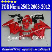 Custom for ninja 250r fairing 08 09 10 11 12 ZX 250R EX250 fairings 2008 2009 2010 2011 2012 flat red black SX65