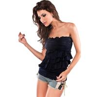 Clothing 2013 pleated tassel tube top fashion sleeveless dress basic shirt top t-shirt