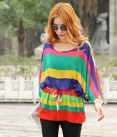 Women Scoop Neck 3/4 Bateing Sleeve Semi Sheer Bohemian Rainbow Strip Asymmetric Hem Chifon Blouse Free Shipping D305-5836