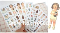 Kawaii stickers New Paper Doll Mate Deco sticker set 6 sheets, Afrocat doll Kids stickers for Home decals DIY phone decoration