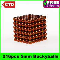216pcs 5mm Buckyballs Neocube Magic Cube Magnetic Balls, Orange,