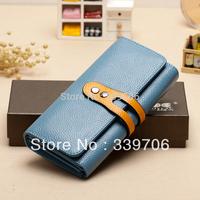 2014 Fashion genuine leather wallet women's female long design wallet Women wallet