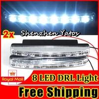 20pcs/lot 8 LED Car Daytime Running Light DRL DC 12V Daylight Kit Super White Head Lamp