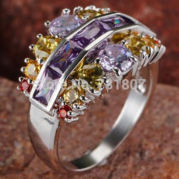 Fashion Style Fantastic Amethyst & Garnet & Citrine & Tourmaline Silver Ring Size 7 Jewelry Stone Wholesale  Free Shipping