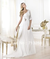 2014 Chiffon Greek Stylish Beach One-shoulder Wedding Dresses Long A-line Informal Goddess Vintage Custom Made Cheap Beading