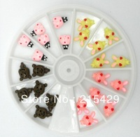 Free Shipping Mixed Nail Art Resin 3D bows, flowers,KT, bling bling nail,cute nail, Tips Stickers Decorations