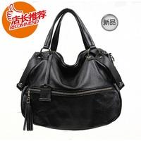 women's handbag genuine leather shoulder bag tassel handbag cross-body first layer of cowhide bag  Free Shipping