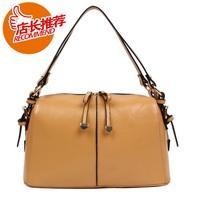 Bags genuine leather BOSS bag fashion cowhide women's handbag one shoulder handbag cross-body bucket handbag  Free Shipping