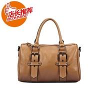 Fashion fashion women's handbag first layer of cowhide handbag casual all-match women's handbag rivet BOSS bag bucket handbag