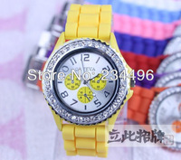 Quartz neutral fashion GENEVA set auger GENEVA watches silicone jelly watch65