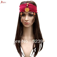 Fashion Caribbean Pirates Wig Costume Party Jack Cosplay Stylish Wig Synthetic Human Hair