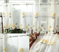 free shipping,90cm*205cm finished white embroidered cafe curtain,chrysanthemum jacquard voile curtain, string curtain,2pcs/lot