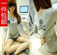 Mushroom women's 2013 Iotion sisters equipment letter print skull slim long-sleeve T-shirt basic shirt