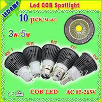 free shipping  E27 3w /5w COB LED spotlights 10pcs - black spotlights AC85-265V -GU10/GU5.3/B22/E14