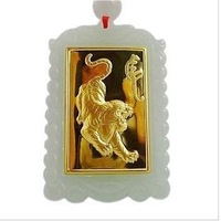 999000 inlaying A jade pure gold pendant inset jades zodiac is tiger