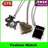 2013 New Fashion Necklace Watch for Male Female Student Pocket Watch Retro Pocket Watch Digital Watch Wholesale,