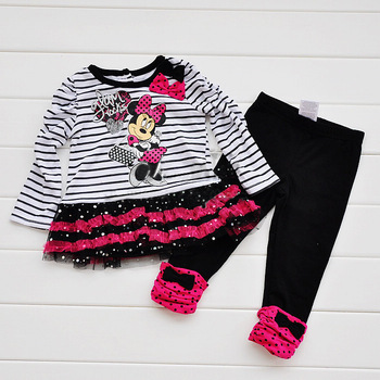 Girls Suit Long Sleeves Minnie Mouse Bowknot Decor Glitter Sequins Lace Brim Striped Tutu Dress T shirt+ Black Long Pants Set