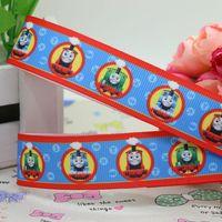 New 7/8'' Free shipping Thomas train cartoon printed grosgrain ribbon hairbow diy party decoration wholesale OEM 22mm H1072