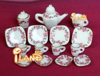 iland 1/12 Dollhouse Miniature Dining Ware Porcelain Tea Set Dish Cup Plate 15pcs Free Shipping