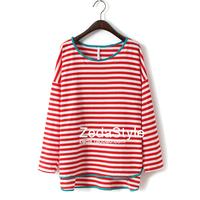 Fashion green orange stripe color block placketing sweep long-sleeve T-shirt loose medium-long plus size female