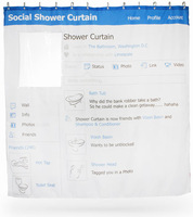 Facebook shower curtain social shower curtain 180*180cm polyester Terylene waterproof bathroom curtain bathroom accessories