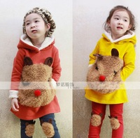 2013 Hot selling Autumn and winter thicken cute bear  girl's clothes set