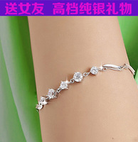 new 2013  girls  accessories S925 pure silver bracelet fashion rhinestone women's brief jewelry anti-allergic women