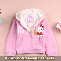 Free shipping,1PC Retail,pink,love kitty,Lamb,cotton, warm style coat(95-140),girl top shirts Hooded Sweater hoodie, winter